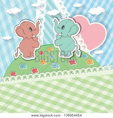 Cartoon elephants with heart. Vector illustraion.