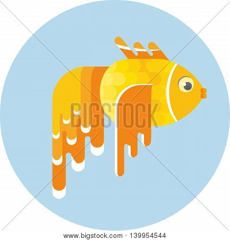 Gold fish. Carries desire. Objects isolated on white background. Flat cartoon vector illustration.