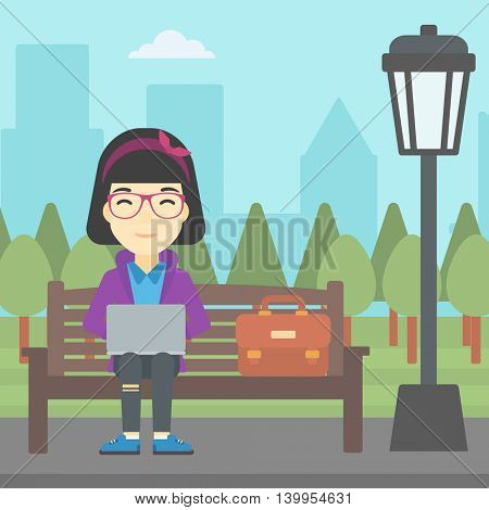 An asian young business woman with briefcase working in the park. Woman working on a laptop. Business woman sitting on a bench with laptop. Vector flat design illustration. Square layout.