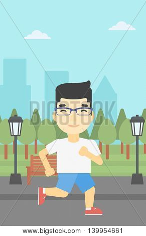 An asian young man running. Male runner jogging outdoors. Sportsman running in the park. Running man on forest road. Vector flat design illustration. Vertical layout.