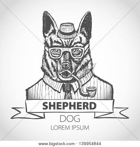German Dog Shepherd Hipster Smokes A Pipe In A Headdress Illustration Vector