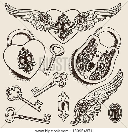 Keys and locks Vector illustration. Coloring book page for kids and adults