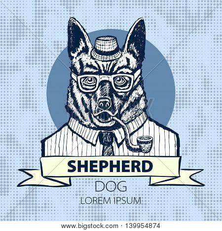 German Shepherd Dressed Up In Suit, Fashion Dog