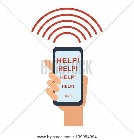 Smartphone is ringing signal for help. Signal SOS. Objects isolated on white background. Flat cartoon vector illustration.