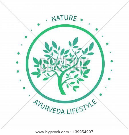 Green circle tree with leaves vector logo design template isoletad on white. Ayurvedic tree icon, vector symbol of natural lifestyle. Alternative massage symbol