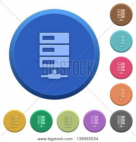 Set of round color embossed data network buttons