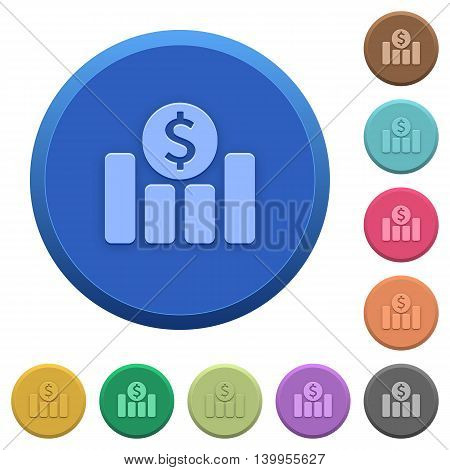 Set of round color embossed dollar graph buttons