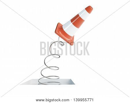 spring traffic cones road cone. 3d Illustrations on a white background