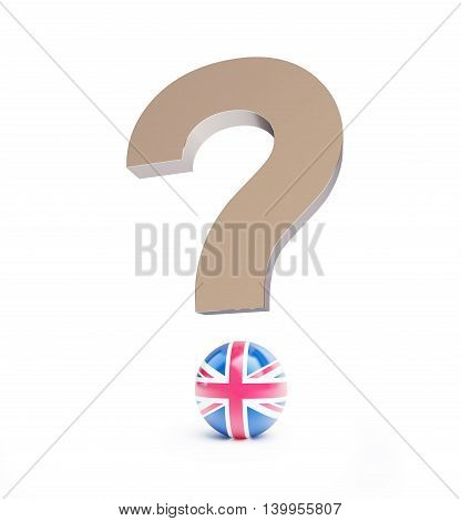 Brexit question mark. 3d Illustrations on a white background