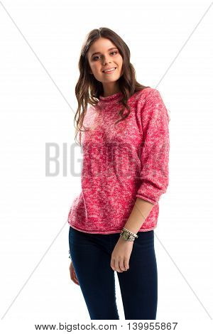 Girl in pink sweater smiling. Small watch on hand. Advertisement of stylish clothes. Quality fabrics and new design.