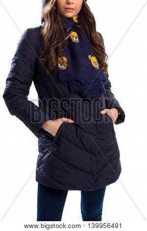 Lady in navy down jacket. Scarf with bear print. Cozy clothes for winter. Waterproof surface and warm lining.