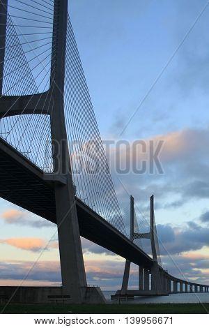 Vasco Da Gama Bridge In Vertical In Portugal