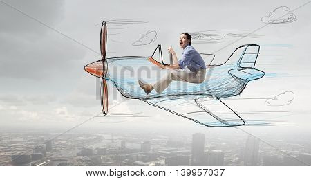 Woman in drawn airplane . Mixed media