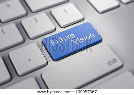 future vision key blue on keyboard showing time concept