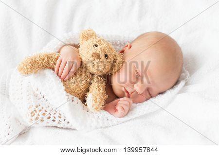 Newborn baby sleeping wrapped in white blanket