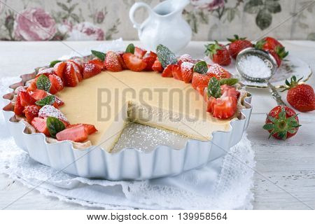 Cheesecake with Strawberries in Backing Form