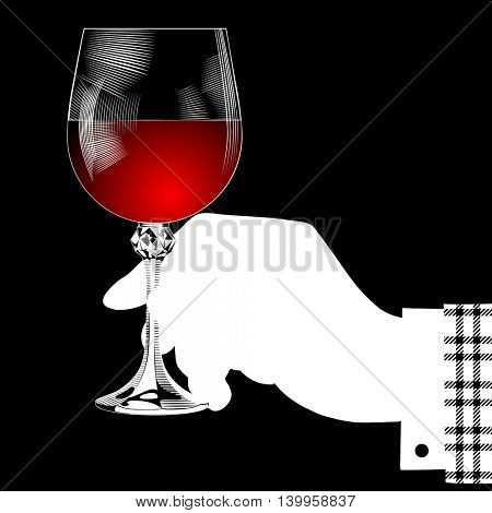 White silhouette of hand holding a glass with red wine on black