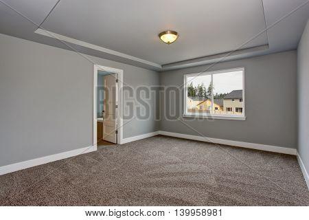 Grey Empty Basement Room With Carpet Floor And Window.