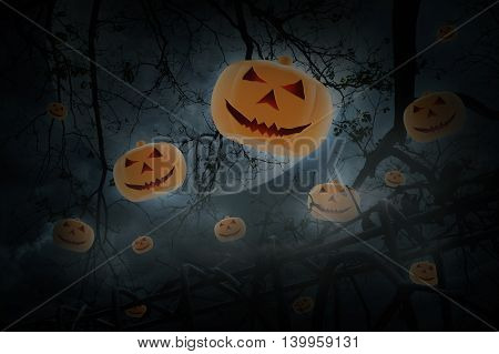 Pumpkin toy fly over old fence dead tree moon and cloudy sky Spooky background Halloween concept