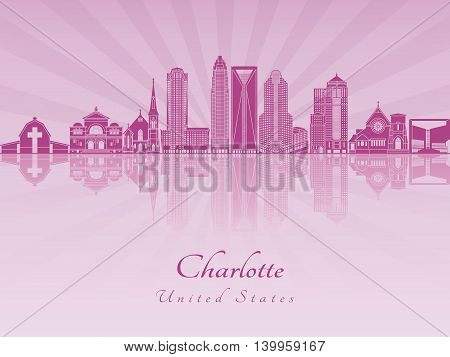 Charlotte skyline in purple radiant orchid in editable vector file