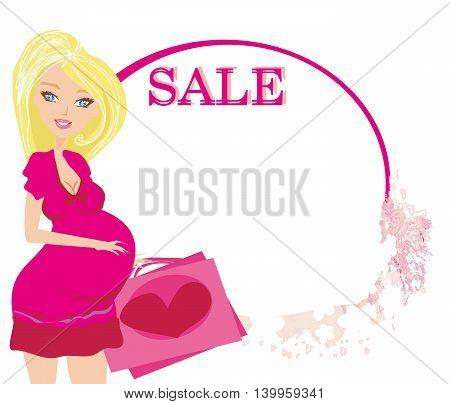 pregnant girl on shopping for baby , vector illustration