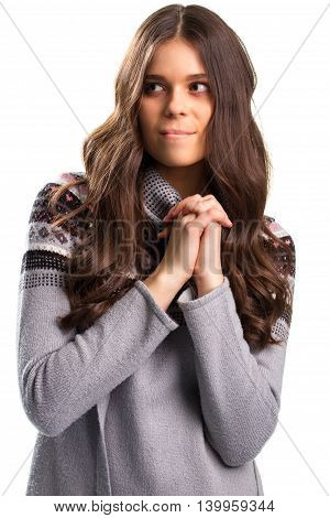 Hopeful lady on white background. Woman with folded hands. It's the only chance. Faith is stronger than ever.