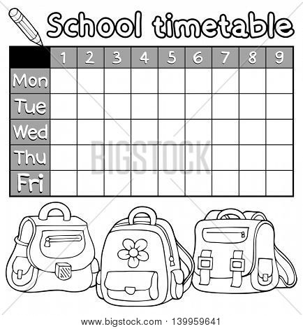Coloring book timetable topic 5 - eps10 vector illustration.