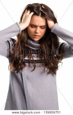 Woman holding hands on head. Lady with closed eyes. What a terrible headache. Have no more strength.