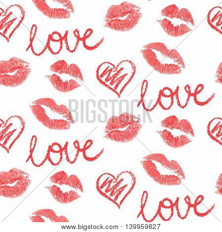 Vector Seamless Pattern Lips Prints On White Background