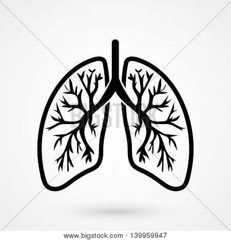 Human Lungs Icon On A White Background. Simple Vector Illustration