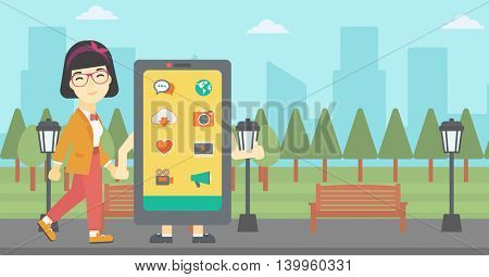 An asian young woman walking with a big smartphone. Woman and big smartphone in the park. Woman holding the hand of smartphone. Smartphone addiction. Vector flat design illustration. Horizontal layout