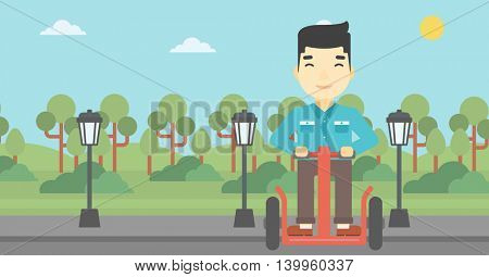 An asian young man driving electric scooter. Man on self-balancing electric scooter with two wheels. Man on electric scooter in the park. Vector flat design illustration. Horizontal layout