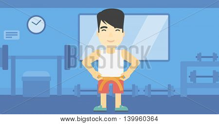 An asian young man measuring his waistline with a tape in the gym. Man measuring with tape the abdomen. Man with centimeter on a waist. Vector flat design illustration. Horizontal layout
