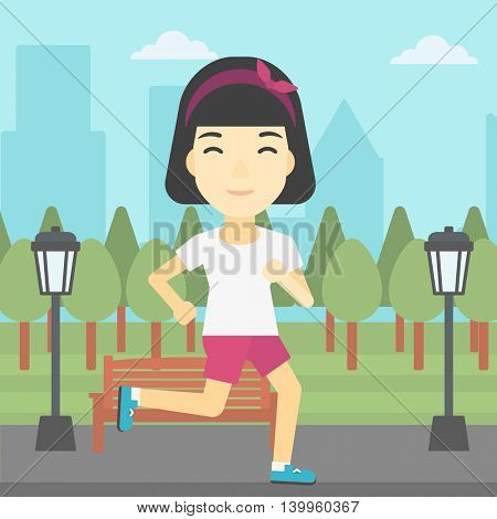 An asian young woman running. Female sportive runner jogging outdoors. Sports woman running in the park. Running woman on forest road. Vector flat design illustration. Square layout.