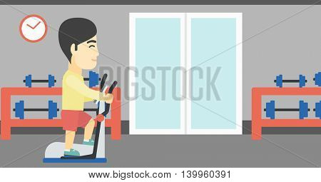 An asian young man exercising on elliptical trainer. Man working out using elliptical trainer at the gym. Man using elliptical trainer. Vector flat design illustration. Horizontal layout