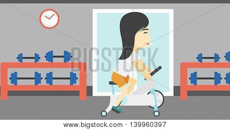 An asian young woman riding stationary bicycle. Sporty woman exercising on stationary training bicycle in the gym. Woman training on exercise bike. Vector flat design illustration. Horizontal layout