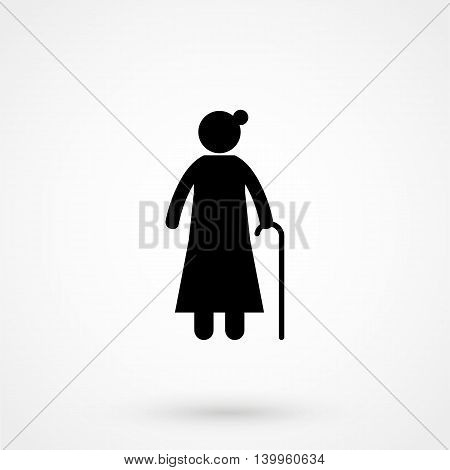 Icon Grandmother On A White Background. Simple Vector Illustration