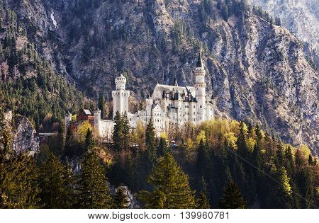 Germany. The famous Neuschwanstein Castle in Bavaria panorama view.