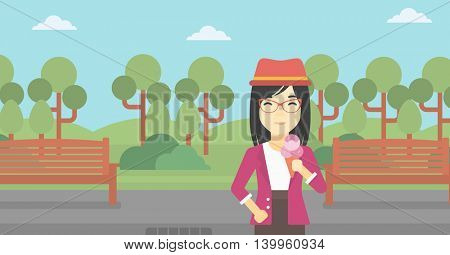 An asian young woman eating a big ice cream in cone. Happy woman holding an ice cream in hand. Woman enjoying an ice cream at park. Vector flat design illustration. Horizontal layout.