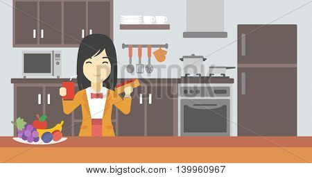 An asian woman eating fast food. Woman holding fast food in hands in the kitchen. Woman choosing between fast food and healthy food. Vector flat design illustration. Horizontal layout.