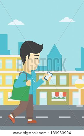 An asian young man walking with smartphone and handbag. Man using smartphone in the city street. Smartphone addiction. Vector flat design illustration. Vertical layout.
