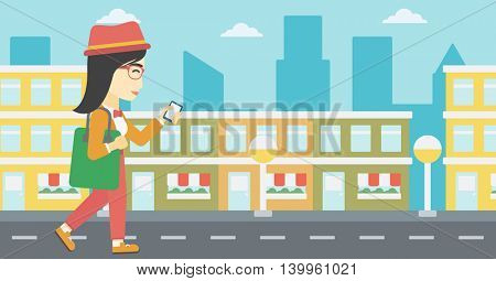 An asian young woman walking with smartphone and handbag. Woman using smartphone in the city street. Smartphone addiction. Vector flat design illustration. Horizontal layout