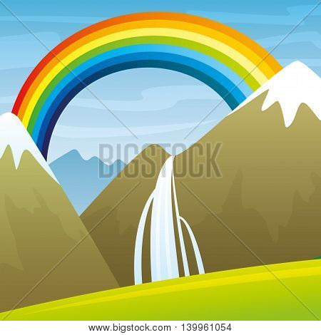 High mountains with a waterfall and a beautiful rainbow in the blue sky.