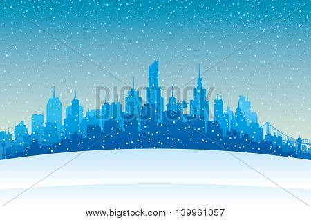 Evening snowfall and winter city on the horizon.