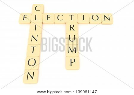 BERLIN GERMANY - JULY 26 2016: US election 2016: Letter tiles election clinton trump 3d illustration