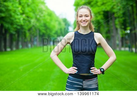 Cheerful Young Woman Before A Running Session.