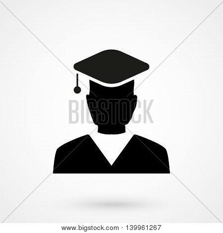 Graduate Student Icon On A White Background. Simple Vector Illustration