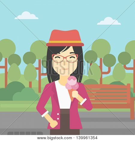An asian young woman eating a big ice cream in cone. Happy woman holding an ice cream in hand. Woman enjoying an ice cream at park. Vector flat design illustration. Square layout.