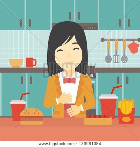 Young woman with eyes closed touching her tummy. Satisfied woman had the best ingestion. Woman standing in front of table with fast food in the kitchen. Vector flat design illustration. Square layout.