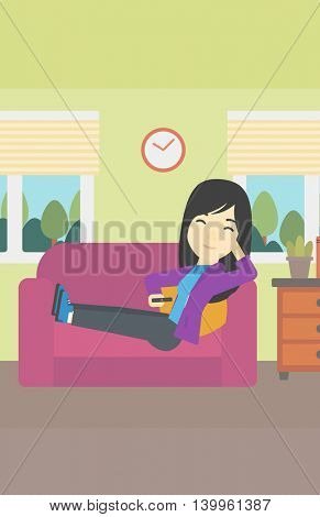 An asian young woman lying on a sofa and watching tv with a remote control in his hand. Vector flat design illustration. Vertical layout.